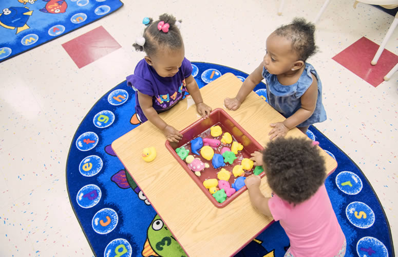 kids playing at preschool